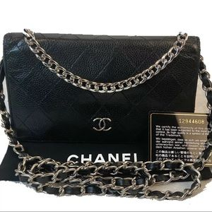 CERTIFIED AUTH. CHANEL QUILTED CAVIAR LONG WALLET